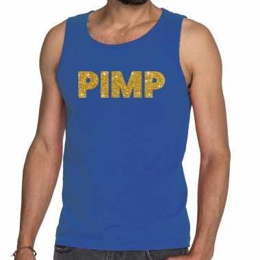 Toppers pimp glitter tanktop / mouwloos blauw heren t-shirt kopen