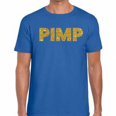 Toppers pimp glitter tekst blauw heren t-shirt kopen