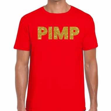 Toppers pimp glitter tekst rood heren t-shirt kopen