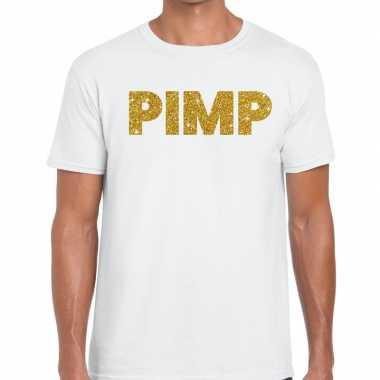 Toppers pimp glitter tekst wit heren t-shirt kopen