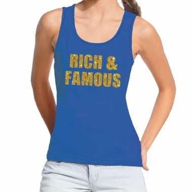 Toppers rich and famous glitter tanktop / mouwloos blauw dames t-shir