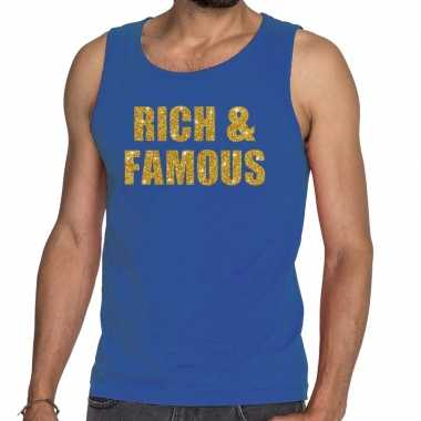 Toppers rich and famous glitter tanktop / mouwloos blauw heren t-shir