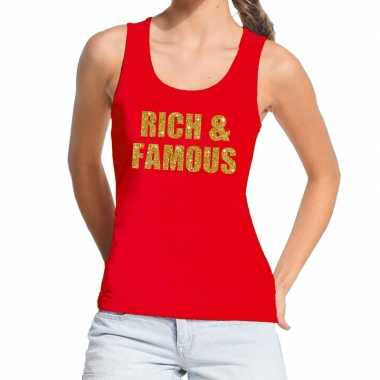 Toppers rich and famous glitter tanktop / mouwloos rood dames t-shirt