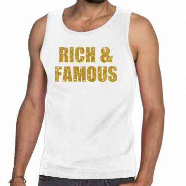 Toppers rich and famous glitter tanktop / mouwloos wit heren t-shirt