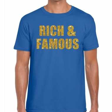 Toppers rich and famous glitter tekst blauw heren t-shirt kopen