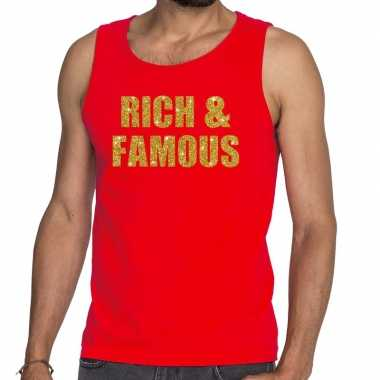 Toppers rich and famous glitter tekst tanktop / mouwloos rood here t-