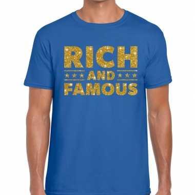 Toppers rich and famous goud glitter tekst blauw heren t-shirt kopen