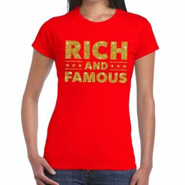 Toppers rich and famous goud glitter tekst rood dames t-shirt kopen