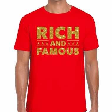 Toppers rich and famous goud glitter tekst rood heren t-shirt kopen