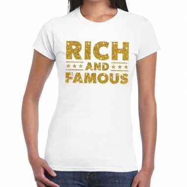 Toppers rich and famous goud glitter tekst wit dames t-shirt kopen