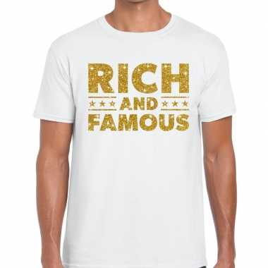 Toppers rich and famous goud glitter tekst wit heren t-shirt kopen