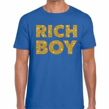 Toppers rich boy goud glitter tekst blauw heren t-shirt kopen