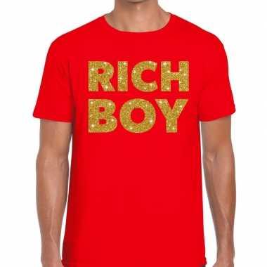 Toppers rich boy goud glitter tekst rood heren t-shirt kopen