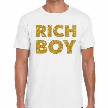 Toppers rich boy goud glitter tekst wit heren t-shirt kopen