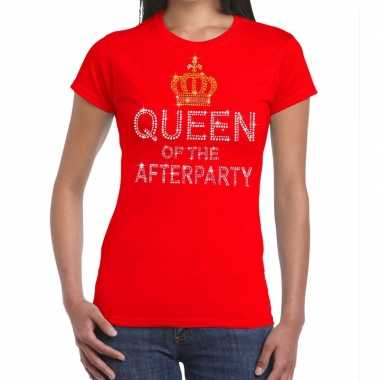 Toppers rood toppers queen of the afterparty glitter dames t-shirt