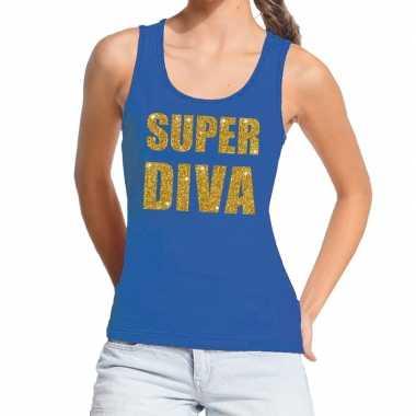 Toppers super diva glitter tanktop / mouwloos blauw dames t-shirt kop