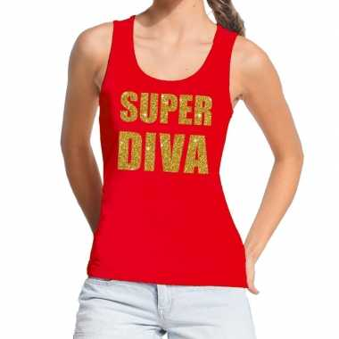 Toppers super diva glitter tekst tanktop / mouwloos rood dames t-shir