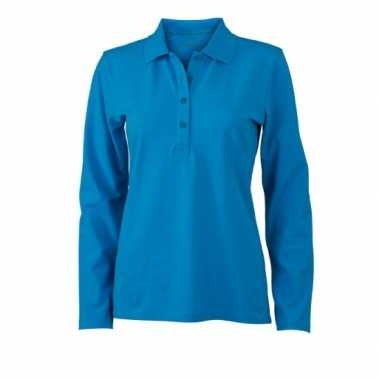 Turquoise stretch polo dames t-shirt