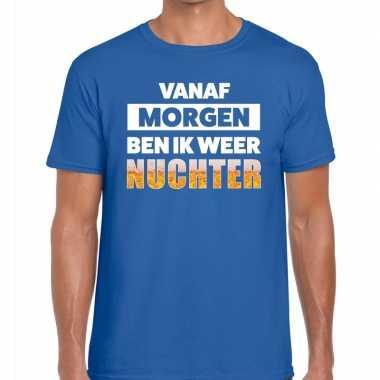 Vanaf morgen ben ik weer nuchter tekst blauw heren t-shirt kopen