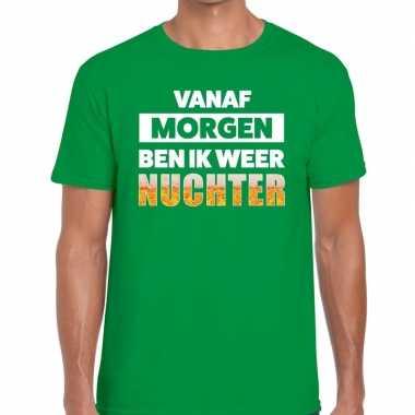Vanaf morgen ben ik weer nuchter tekst groen heren t-shirt kopen
