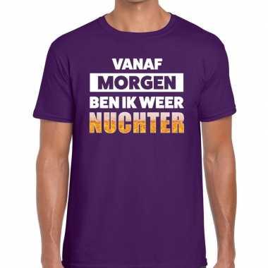Vanaf morgen ben ik weer nuchter tekst paars heren t-shirt kopen