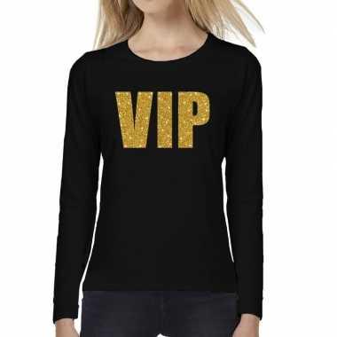 Vip goud glitter long sleeve zwart dames t-shirt kopen
