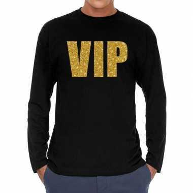 Vip goud glitter long sleeve zwart heren t-shirt kopen