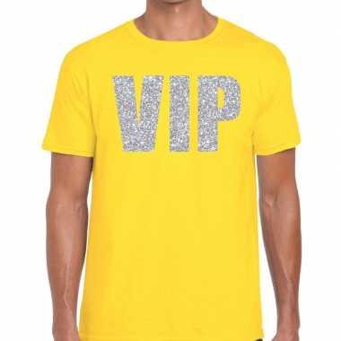 Vip zilver glitter tekst geel heren t-shirt kopen