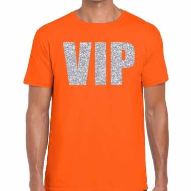 Vip zilver glitter tekst oranje heren t-shirt kopen