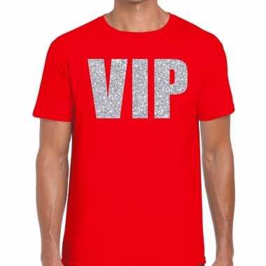 Vip zilver glitter tekst rood heren t-shirt kopen