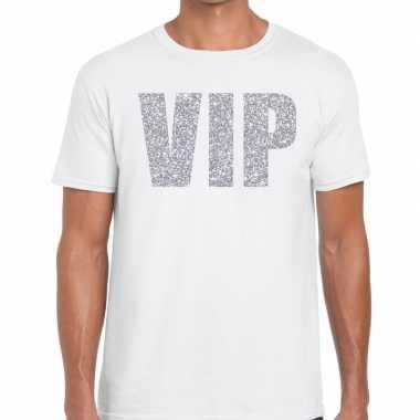Vip zilver glitter tekst wit heren t-shirt kopen