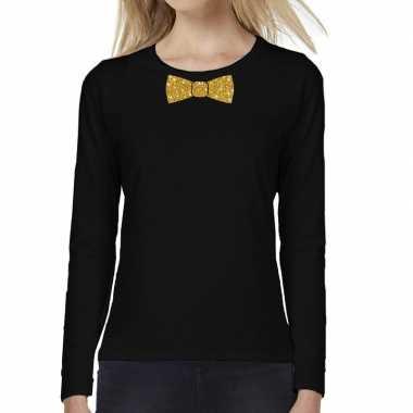 Vlinder das goud glitter long sleeve zwart dames t-shirt kopen