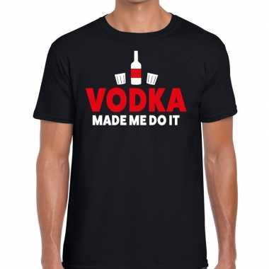 Vodka made me do it fun zwart heren t-shirt kopen