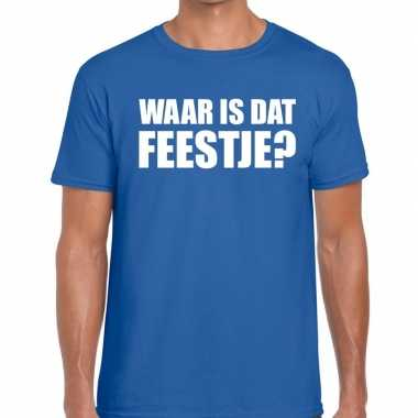 Waar is dat feestje heren blauw t-shirt kopen