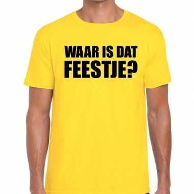Waar is dat feestje? tekst geel heren t-shirt kopen