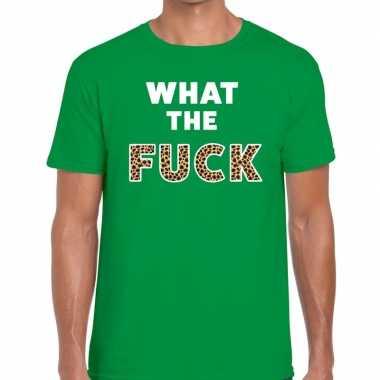 What the fuck tijgerprint tekst groen heren t-shirt kopen