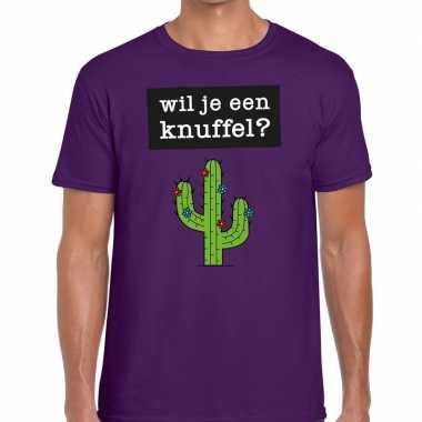 Wil je een knuffel tekst paars heren t-shirt kopen