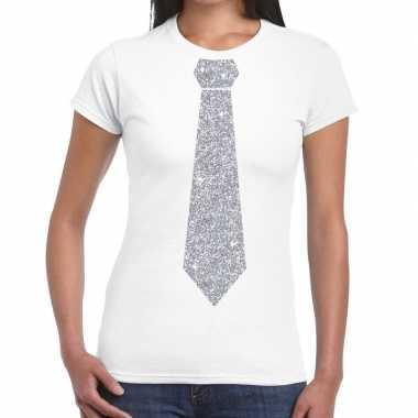 Wit fun stropdas glitter zilver dames t-shirt kopen