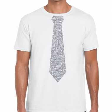 Wit fun stropdas glitter zilver heren t-shirt kopen