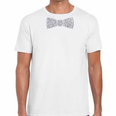 Wit fun vlinderdas glitter zilver heren t-shirt kopen