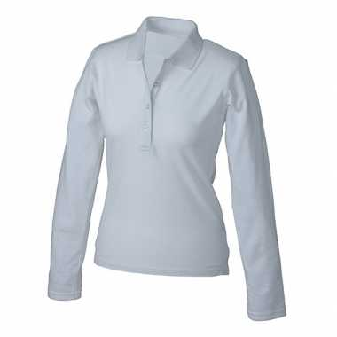 Witte stretch polo dames t-shirt