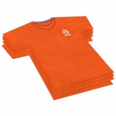X voetbal themafeest servetten oranje papier t-shirt kopen