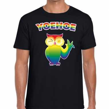 Yoehoe gaypride knipogende regenboog uil zwart here t-shirt kopen