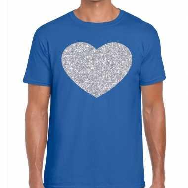 Zilver hart glitter fun blauw heren t-shirt kopen