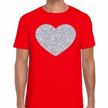 Zilver hart glitter fun rood heren t-shirt kopen
