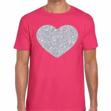 Zilver hart glitter fun roze heren t-shirt kopen