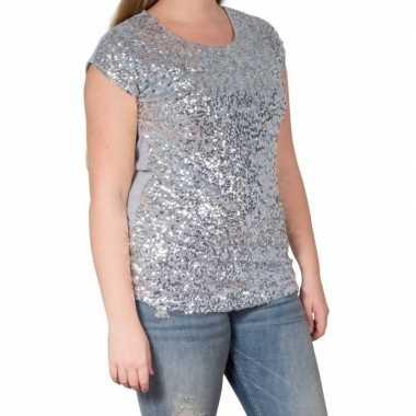 Zilveren glitter pailletten disco dames l/xl t-shirt kopen