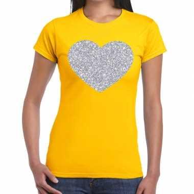 Zilveren hart glitter geel dames t-shirt kopen