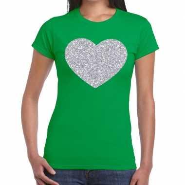 Zilveren hart glitter groen dames t-shirt kopen