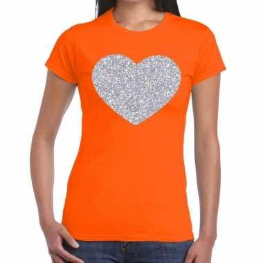 Zilveren hart glitter oranje dames t-shirt kopen